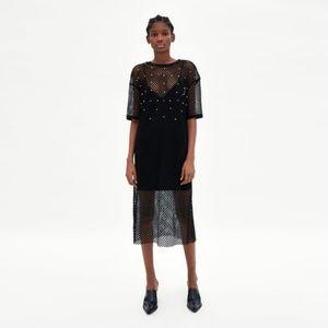 Zara Fishnet Dress with Pearl Beads